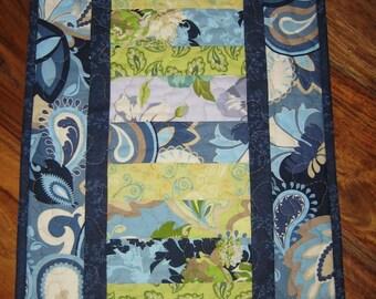 Quilted Table Runner, Blue Green Paisley Flowers, Spring Tablerunner, Summer Runner, Short Table Runner, Reversible Runner, Handmade