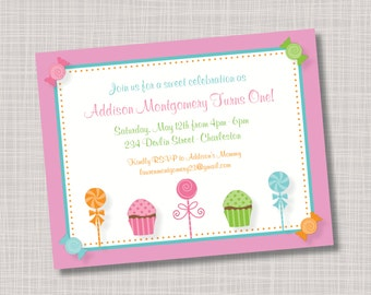 Custom Candy, Lollipop & Cupcakes Birthday Party Invitations
