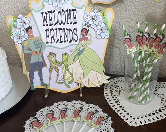 Tiana/Princess and the Frog/Banner/ cake topper/ paper straws/ cupcake toppers/ center piece/ welcome sign/ and more.