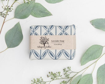 Linen Wrapped Natural Lavender Soap - Made with Organic Oils - Vegan - 5.5 oz - SOLD OUT