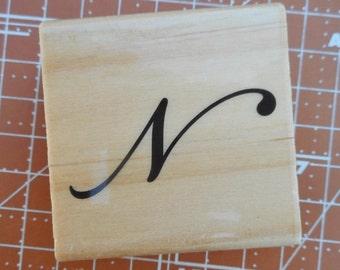 Uppercase N Rubber Stamp Script Font
