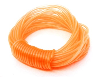 Rubber Cord tube 2mm(0,08in), hole 0,8mm(0,03in), PVC, Orange - 4,5m/5 yards(1 piece)