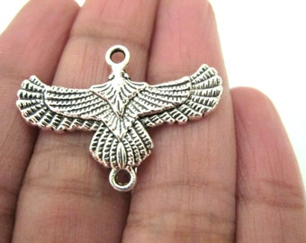 8 charms - Eagle connector charms antiqued silver tone - bracelet charm links - 32 mm x 23 mm - CM156