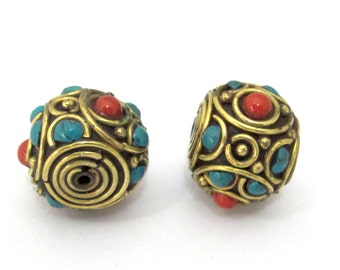 1 BEAD -  Tibetan rondelle shape brass bead with turquoise coral inlay  - BD896