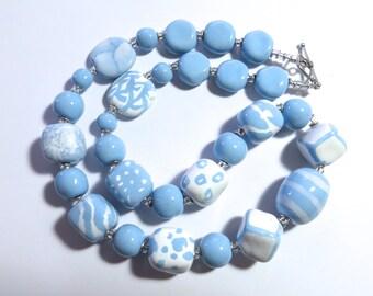 Kazuri Bead Necklace, Fair Trade Beads, Ceramic Necklace, Light Blue and White