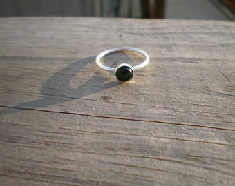 Faceted Green Quartz Stacking Ring, Sterling silver, Size 7.5