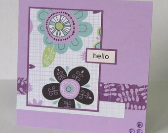 Hello In My Thoughts And Prayers Christian All Occasion Card In Purple
