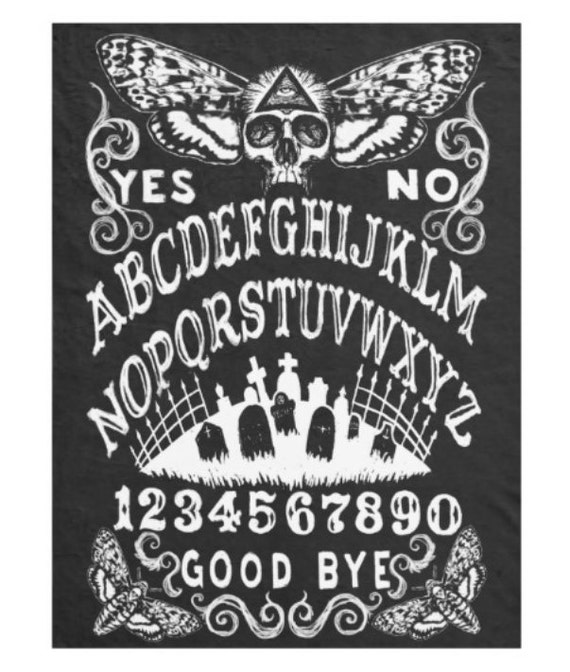 Ouija with Skull Moth fleece blanket