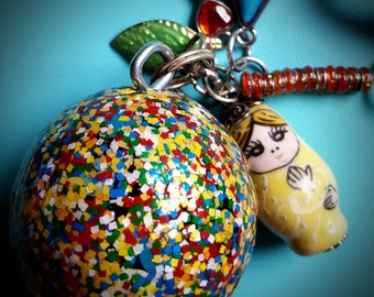 Whimsical Keyring with Hand Painted Wooden Ball and Colorful Charms