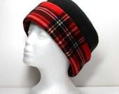SALE - Red and Black Plaid Brim and Black Anti Pill Fleece Hat Warm Hat Womens Pillbox Fleece Hats Ladies Fleece Hat - LAST ONE