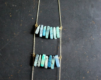 Free Shipping - Turquoise Impression Jasper Breastplate Necklace - OOAK