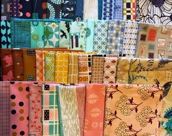 Custom Curated Vintage Inspired Coordinating Fat Sixteenth Bundle Premium Quilting Cotton Fabric