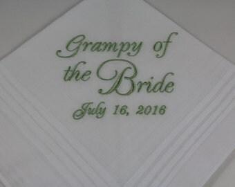 Grampy of the Bride - Embroidered Handkerchief - Wedding Gift - Simply Sweet Hankies
