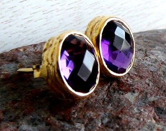 Purple Amethyst Stud Earrings - February Birthstone Studs - Gemstone Studs - Gold Stud Earrings - Post Earrings