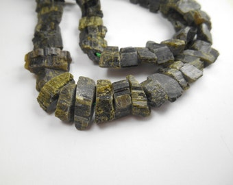 Gemstone Bead, Large, Center drilled, Primitive Green Black Tourmaline, Flat curved Nuggets, 17x9mm