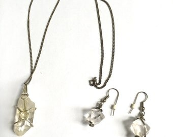 Beautiful Sterling Silver and Crystal Necklace and Earring Set