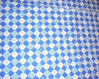 "Blue and white snowflakes and swirls in diamonds - cotton fabric -  44"" wide - sold by the yard"