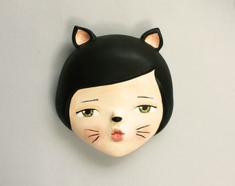 RESERVED FOR CECILE Cat lady- wall mask  sculpture - doll face wall art  ooak