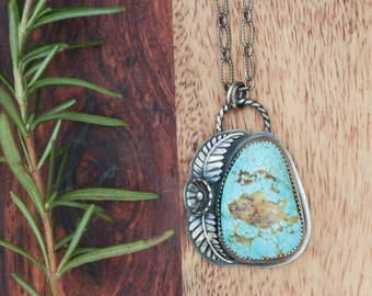 Southwestern Turquoise Necklace, Sterling Silver Jewelry, Bohemian Pendant