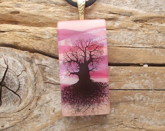 Dichroic Glass Necklace, Mighty Tree of Life, Pink DGP-503