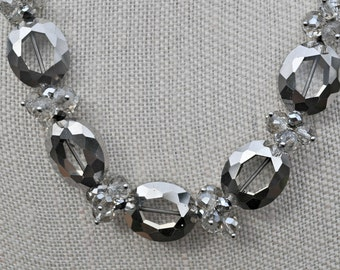 Silver Gray Metallic Crystal Necklace