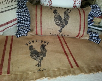 Farmhouse French Country Over Stuffed Rooster Ruffled Pillow