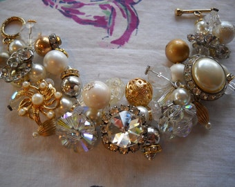 Chunky Crystal Gold Pearl Charm Bracelet Reworked Vintage Earrings Beads Rhinestones FREE SHIPPING Assemblage Upcycled