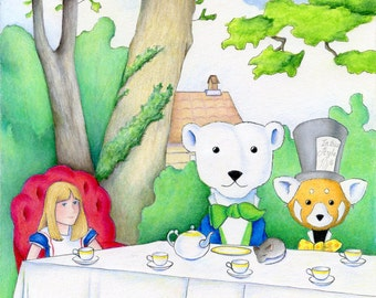 Walter and Jack's Alice in Wonderland Tea Party 8 x 10 inch Print by SBMathieu
