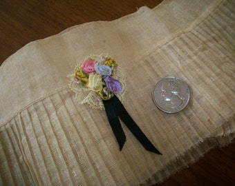 Authentic antique silk ribbon work for pin or embellishment