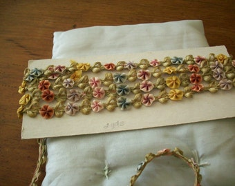 1 foot of ribbon work in a silk  garland authentic