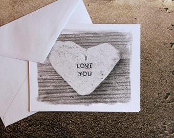 Romantic Beach Theme Heart Cards- I Love You, heart stone, Beach Heart, Wedding cards, Valentines Day cards, anniversary card, heart art,