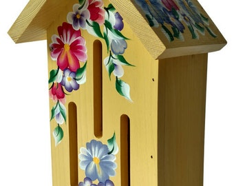 Yellow Butterfly House with Hand Painted Pansies and Flowers