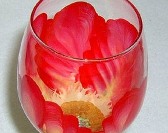 Wine Glass Red and Yellow Flower Hand Painted
