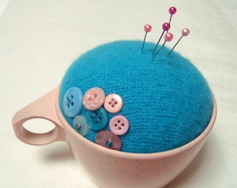 Pincushion Pink Turquoise Handmade Melmac Make-Do Vintage Cup