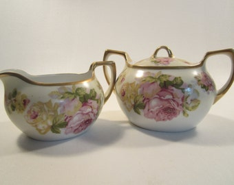 Vintage Meito China Creamer and Sugar Set Made in Japan Roses Gold Trim