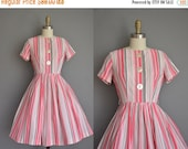 Anniversary SHOP SALE... vintage 1950s dress / 50s dress / pink and gray stripe dress