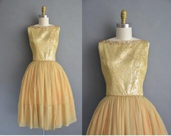 50s golden chiffon floral brocade vintage dress / vintage 1950s dress
