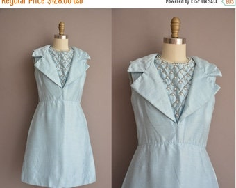 25% off SHOP SALE... Samuel Grossman 60s ice blue beaded silk vintage dress / vintage 1960s dress