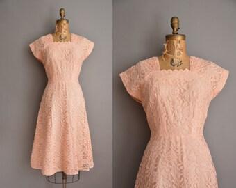 50s salmon pink lace vintage party dress / vintage 1950s dress