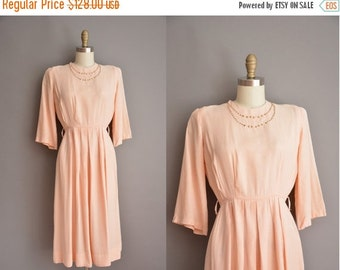 Anniversary SHOP SALE... 40s peach pink brass studded vintage dress / vintage 1940s dress