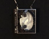 Frosted Glass Cameo-miniature book necklace with a readable story inside