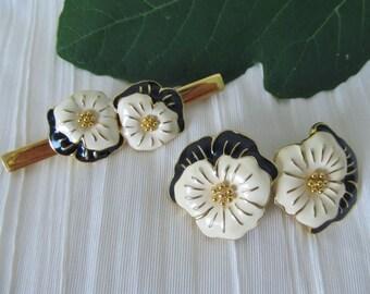 Monet Earrings / Pin, 2-Pc Set, Black White Enamel, Floral Pansy Signed, Vintage 90s