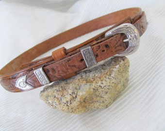 Cowgirl Skinny Leather Belt, Hand Tooled, Western, Country Girl,  Vintage 70s