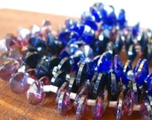 30pcs Rivoli 8mm Black - Blue - Purple AB Saucer coin bicone top drilled drop faceted crystal glass beads - PICK Color