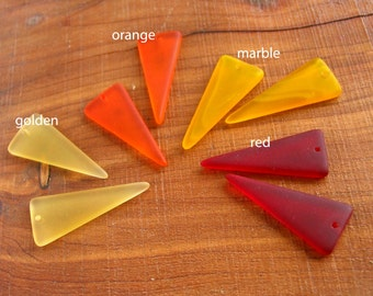 2 / 4 pcs 36mm Yellow - Red - Orange earring size triangle pendant sea beach glass beads matte frosted recycled - PICK color / quantity