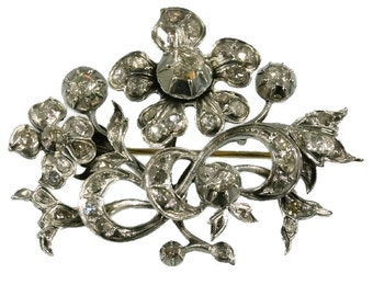 On Sale Antique gold backed silver flower branch brooch foil set with rose cut diamonds