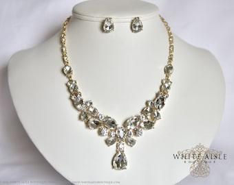 Gold Wedding Jewelry Set, Crystal Statement Necklace, Rhinestone Necklace, Bridal Jewelry Set, Vintage Inspired Necklace
