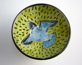 Small Ceramic Serving Bowl - Indigo Bunting Bird - Majolica Pottery Bowl - Yellow Red Olive Green - Cereal Bowl - Prep Bowl - Clay Dish