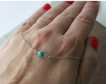 Turquoise Necklace,Tiny Necklace,Sterling Silver Chain,Delicate Necklace,Dainty Necklace,Layering Necklace,Layer Necklace,Minimalist
