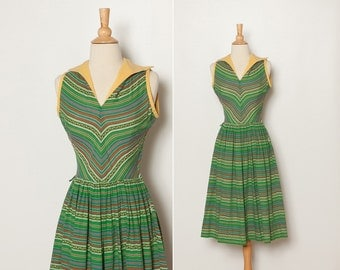 vintage 1950s green striped dress